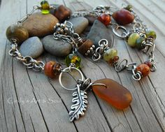 Great fall colors.....Sea Glass Necklace and Oxblood Jade Earrings by ArtandSoulJewelry