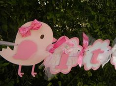 Sweet Tweets Birdie Its a Girl BANNER in Pink and White on Etsy, $35.00