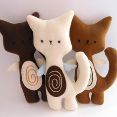 Kitty Cat Plush - Coffee Set of 3 stuffed and soft toys. via Etsy. Animal Crafts For Kids, Fabric Animals, Fabric Toys, Felt Cat, Cat Doll, Cat Crafts, Cat Pattern, Sewing Toys, Stuffed Animal Patterns
