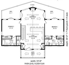 Contemporary Country House Plan 51459 Level One