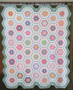 Vintage 30s Gift Quality Grandmothers Flower Garden Quilt Beautiful   eBay
