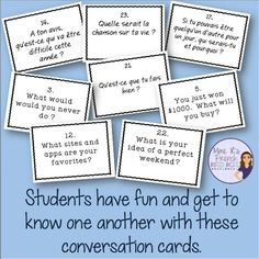 Have the best first day of French class ever! These conversation cards are a really fun way to get to know your students and to warm up for the year. 32 cards in French and English + follow-up homework assignment. Click here to see more and read about what I do on the first day of school!