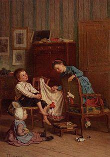 خیمه شب بازی، نقاشی از Théophile-Emmanuel Duverger، ۱۹۰۰