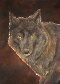 "Wolf Art - ""Black Jack"" - Watercolor by Lorraine Skala - Prints and notecards available at lorriskala@aol.com"