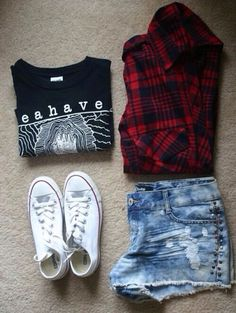 Jacket: shorts flannel shirt style high waisted shorts denim shorts black converse red beautiful