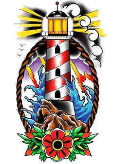 #lighthouse #tattooflash #oldschooltattoo #wacom #wacomart
