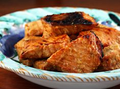Chunks of salmon tikka, marinated in yogurt and spices and cooked under the broiler.