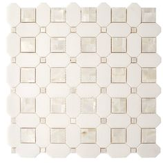 Thassos Mother of Pearl Basket weave Marble Mosaic - 12 x 12 - 100569128