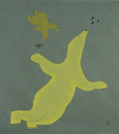 Bears Swimming by Cee Pootoogook. Kinngait Studios on Cape Dorset, Nunavut, Canada Native Art, Native American Art, American Spirit, Native Indian, Inuit Art, Artist Sketchbook, Bear Art, Indigenous Art, Canadian Artists