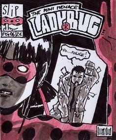 The Mini Menace Ladybug son falsas portadas de cómics y arte conceptual elaborado por Thomas Astruc. Estos son los primeros dibujos de la mariquita de que Thomas hizo