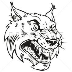 Mascot Clipart Image of Wildcats Bobcats Head Mascot Black White Graphic Mean Vicious