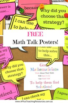 What better way to banish math anxiety than with these FREE Math Talk Poster Prompts! Perfect for Back-to-school bulletin boards! Math Classroom Decorations, Classroom Ideas, Science Classroom, Future Classroom, School Classroom, Math Bulletin Boards, Math Talk, Fourth Grade Math, Grade 6 Math