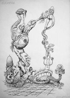 Johfra Museum Creepy Art, Weird Art, Arte Horror, Horror Art, Surealism Art, Blackwork, Banksy Graffiti, Rides Front, Still Life Drawing