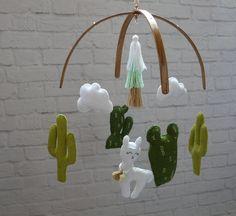 Llama Cactus baby mobile Alpaca mobile Boho Baby girl mobile   Etsy Felt Bows, Boho Baby, Etsy Shipping, Before Christmas, Wooden Beads, Girl Nursery, Cactus, Baby Shower, Baby Room