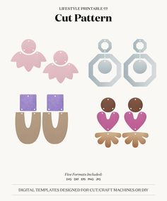 Diy Earrings Polymer Clay, Fimo Clay, Polymer Clay Crafts, Resin Crafts, Shape Templates, Pearl And Lace, Wooden Jewelry, Leather Earrings, Etsy Shop