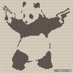 Banksy Cross Stitch Pattern Panda With Guns