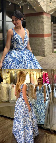 A-Line V-Neck Sleeveless Floor-Length Ivory Printed Prom Dress Ndresses Sequin Prom Dresses, A Line Prom Dresses, Formal Dresses For Women, Cheap Prom Dresses, Prom Party Dresses, Nice Dresses, Evening Dresses, Girls Dresses, Awesome Dresses