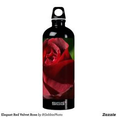 Elegant Red Velvet Rose Water Bottle - $54.40 - Elegant Red Velvet Rose Water Bottle - by #RGebbiePhoto @ #zazzle - #Flowers #Rose #Red - A beautiful rosebud, deep velvet red in color, in a spring garden. Strong red and green theme, this elegant rose adds a touch of class to any occasion. Elegance and Romance, a lover's flower. A definite must for red rose lovers!