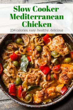 Slow Cooker Mediterranean Chicken - Slender Kitchen Slow Cooker Mediterranean Chicken with tender chicken thighs, olives, sweet red peppers, and onion couldn't be more delicious and is healthy too. Crock Pot Recipes, Slow Cooker Recipes, Chicken Recipes, Cooking Recipes, Healthy Recipes, Baked Chicken, Crockpot Meals, Roasted Chicken, Slow Cooker Meals Healthy