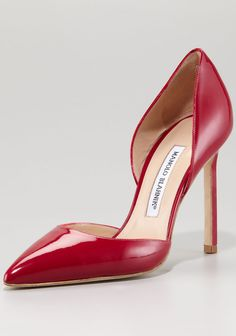 Manolo Blahnik Pointed d'Orsay, Raspberry.