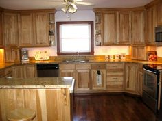 Hickory Kitchen Cabinets With Hanging Fan
