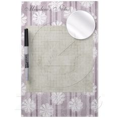 Lilac Linen Stripes Flowers Dry-erase Boards from Zazzle.com