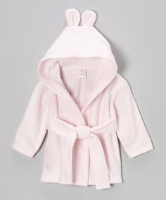 Look at this #zulilyfind! Pink Bunny Fleece Hooded Robe - Infant by Bambini Layette #zulilyfinds