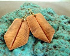 Folded Copper Dangle Earrings by sistersilver on Etsy, $16.00