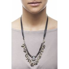 Semi precious stone delicate indian silver chain and leather necklace which is adjustable at the back Handmade fashion Montreal