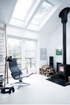 fireplace + skylight