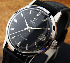 VINTAGE 0MEGA SEAMASTER AUTOMATIC S.S CAL.565 BLACK DIAL MENS WATCH 166.013 Sold 20120613 750.00 USD