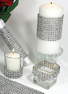 Add some bling to anything using diamond ribbon wrap - Available at www.yourweddingcompany.com/index.php/action/purchase/productId/963/categoryId/149/wedding event decorations