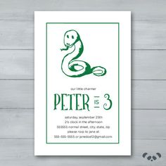 Snake Birthday Party Invitation    Snake by PandafunkCreations