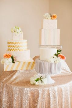 Pretty wedding cake trio