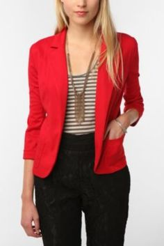Boho high waisted black pants, striped t-shirt, red blazer, gold accent necklace. Love.