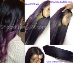Human hair purple ombre lacefront wig Purple Deep Middle Part Lace Front Wig Long Straight Brazilian Remy Preplucked wig Cheap Human Hair Wigs, 100 Human Hair, Cheap Wigs, Purple Ombre, Purple Hair, Celebrity Hairstyles, Wig Hairstyles, Bob Cut Wigs, Best Hair Straightener
