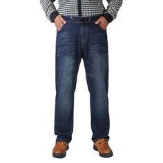 Men's elastic Middle-aged Jeans Men Casual Large Size