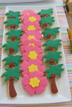 Decorated cookies at a Hawaiian Luau Party #luau #partycookies