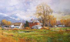 """Ian Ramsay Watercolors Rural scene, Spanish Fork, Utah 12"""" x 20"""" watercolor SOLD"""