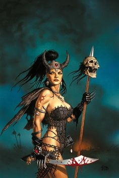 fantasy artwork by Clyde Caldwell Comic Art Girls, Fantasy Characters, Fantasy Female Warrior, Fantasy Artwork, Fantasy Heroes, Fantasy Art, Fantasy Warrior, Sword And Sorcery, Dark Fantasy Art