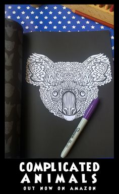 Koala - Image from Complicated Animals - A Mixed Menagerie Colouring Book - Illustrated by Antony Briggs - UK link: http://amzn.to/2aeY18T USA link: http://amzn.to/2aeXS5B