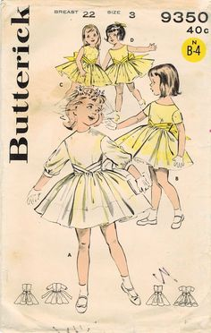 1960s Butterick 9350 Vintage Sewing Pattern Girls Cummerbund Dress, Party Dress, Formal Dress Size 3, Size 6