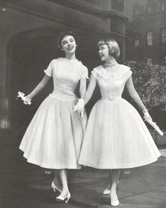"misforgotten2:  "" They were co-valedictorians at their charm school graduation.  Butterick Pattern Book Spring 1956  """
