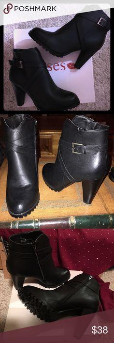 Kisses, black zip up high heeled booties Anti slip tread. Inner ankle zipper. NIB Kisses Shoes Heeled Boots