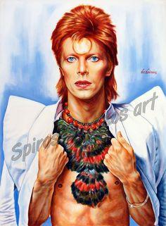 David Bowie, Ziggy Stardust portrait painting   Canvas print, wall poster art