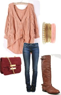 fashion, purs, cloth, style, bracelets, fall outfits, brown boots, oversized sweaters, bags