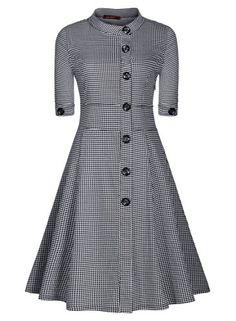 Miusol Women's Vintage Front Buttons Houndstooth 1940s Tea Swing Dress Swallow Gird XL-14