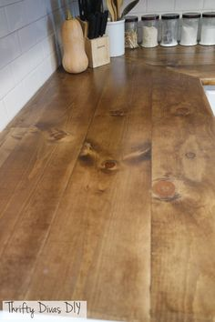 Thrifty Divas DIY- Wide Plank Butcher Block Countertops