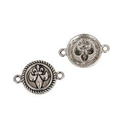 15mm Oval Fleur Antiqued Silvertone Metalized Metallic Beads