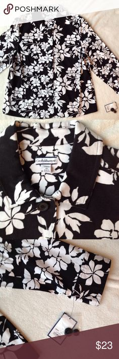 Black and White Floral Jacket 5 button down front, 2 pockets in front seam, no lining,2 button cuffs, collar, product tag is in listing pictures croft & barrow Jackets & Coats